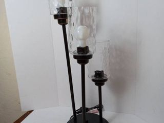 Allen   Roth latchbury Bronze 3 light Table lamp w Clear Hammered Glass Shades