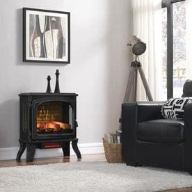 Duraflame 25 in W 5200 BTU Black Metal Flat Wall Infrared Quartz Electric Stove Thermostat with Remote