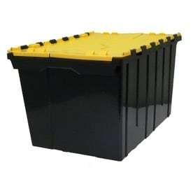 Centrex Plastics  llC Commander 12 Gallon Black Tote with Hinged lid
