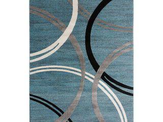 Modern Abstract Circles Design Area Rug 3 3  x 5  Blue