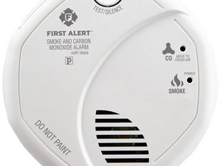 First Alert SC7010BPVCN Hardwired Smoke   Carbon Monoxide Detector with Voice location and Battery Backup