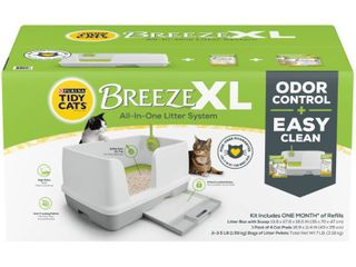 Purina Tidy Cats Non Clumping litter System  Breeze Xl All in One Odor Control   Easy Clean Multi Cat Box