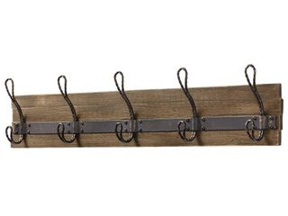 Home Decorators Collection 27 in  Rustic Pine and Distressed Brass Hook Rack  Pine   Antique Brass
