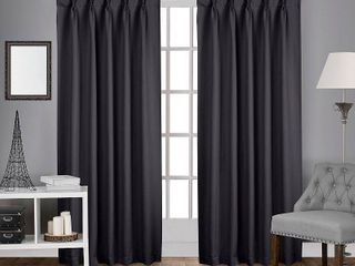 Set of 2 84 x52  Sateen Pinch Pleat Woven Blackout Back Tab Window Curtain Panel Dark Gray   Exclusive Home