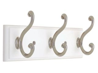 liberty 129854 10 Inch Hook Rail Coat Rack with 3 Scroll Hooks  White and Satin Nickel