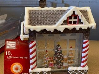 Home Accents 10 in  lED Santaas Candy Shop
