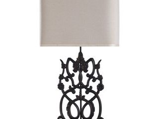 Pair of Saugus Bronze Iron Floral Scroll Table lamps with Step Base  Retail 142 99