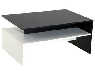 2 Tier Modern Rectangular living Room Coffee Table   Black White  Retail 124 99
