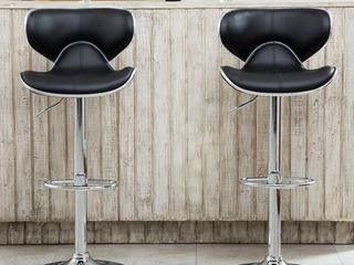 Roundhill Furniture Masaccio Cushioned leatherette Upholstery Airlift Adjustable Swivel Barstool with Chrome Base  Set of 2  Black