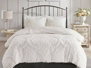 Madison Park Viola King California King 3 Piece Tufted Cotton Chenille Damask Duvet Cover Set Bedding
