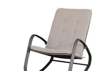 MF Studio Outdoor Patio Rocking Chair Padded Steel Rocker Chairs Support 300lbs  Black