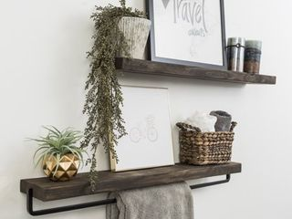 Handmade Del Hutson Designs True Floating Shelf and Towel Rack