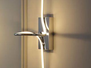 9  Sketch Minimalist Metal Integrated lED Vanity light Sconce Chrome   JONATHAN Y