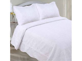 White Embroidery 3 Piece Quilt Set by lCM Home Fashions Twin Size
