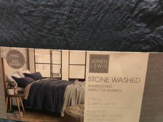 Stone Washed Bamboo feel Duvet Cover   King  denim