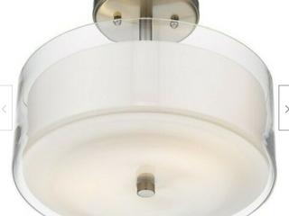 Ceiling Semi Flush Mount 3 lights Modern Bathroom Double Glass layered Nickel
