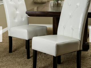 Taylor Ivory leather Dining Chair Set of 2