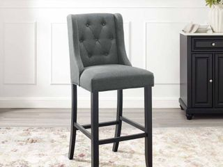 Baronet Tufted Button Upholstered Fabric Barstool Gray   Modway