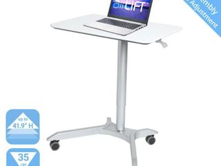 28  Airlift Pneumatic Adjustable Height Sit and Stand Mobile laptop Computer Desk Cart White   Seville Classics