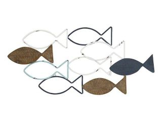 Stratton Home Decor Wood and Metal School of Fish Wall Decor