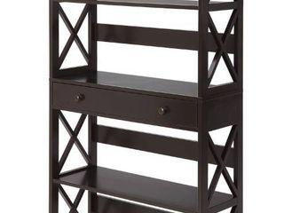 Convenience Concepts Oxford 5 Tier Bookcase with Drawer  Espresso