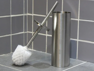 Etched Stainless Steel Toilet Brush Holder