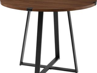 40  Round Dining Table   Dark Walnut   Black