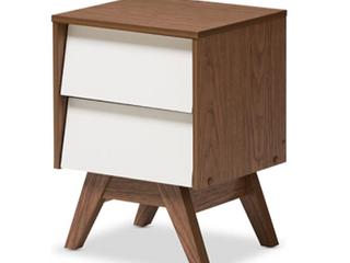 Hildon Mid   Century Modern Wood 2   Drawer Storage Nightstand   White   Walnut  Brown   Baxton Studio