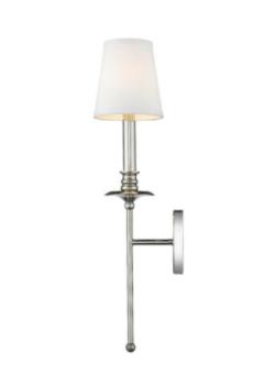 Alyssa 1 light Polished Nickel Sconce With Fabric Shade Bathroom light Hallway
