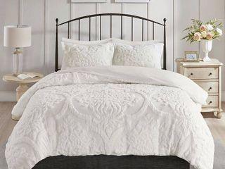 Madison Park Viola Full Queen 3 Piece Tufted Cotton Chenille Damask Duvet Cover Set Bedding
