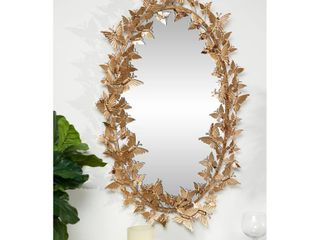 25  x 41  large Oval Metallic Gold Butterfly Hanging Wall Mirror   19 x 5 x 33  Retail 147 99