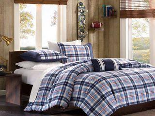 lance Plaid 4 Piece Comforter Set   White Blue  Full Queen