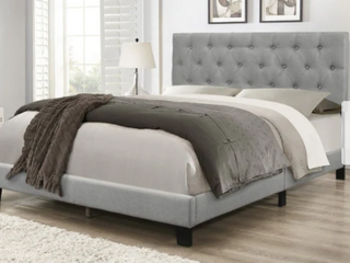 Twin Size Copper Grove Gargan Upholstered Panel Bed   Gray