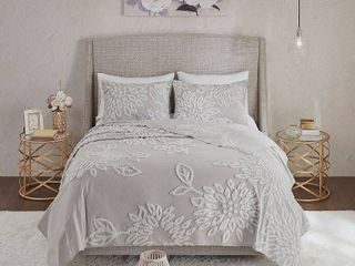 Madison Park Veronica Full Queen 3 Pc  Tufted Cotton Chenille Floral Coverlet Set