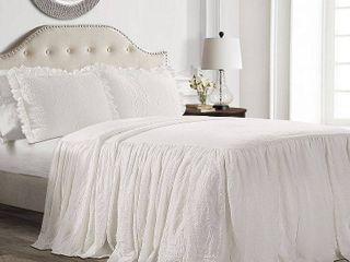 Queen 3pc Ruffle Skirt Bedspread White   lush Decor   Queen Size