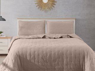 Fairmont Dot Stitch Vintage Washed Quilt   Pillow Sham Set