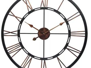 Metal Fusion Black and Bronze large Open Face 28 inch Wall Clock by Infinity Instruments  Retail 75 98
