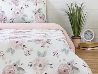 SouthShore Dreamlit White  Pink Full Duvet Set