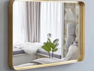 35 8  large Metal Wall Mirror Glass Rounded Corner Deep Set Design  Retail 98 99