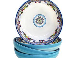Euro Ceramica Zanzibar 4 Piece Pasta Bowl Set