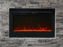 Kinbor 36  Electric Fireplace in Wall Recessed and Wall Mounted  750 1500w Fireplace Heater with Remote Control  12 Flame Color  Retail 542 38