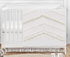 Sweet Jojo 4p Ivory Gender Neutral Boho Baby Girl Boy Nursery Crib Bedding Set