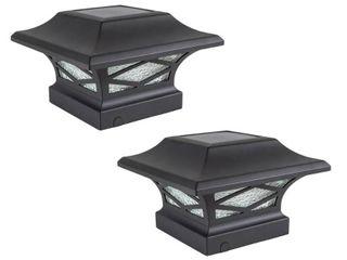 Classy Caps Kingsbridge Black Dual lighted Solar Post Cap  Set of 2