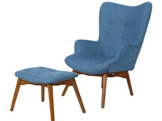 Hariata Mid Century Modern Wingback Fabric Chair and Ottoman Set by Christopher Knight Home  Retail 388 98