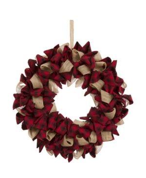 19  Plaid Fabric Christmas Wreath   Glitzhome