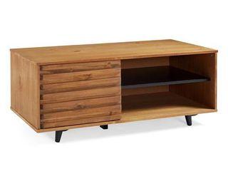 44  Solid Wood Slat Door Storage Bench   Caramel