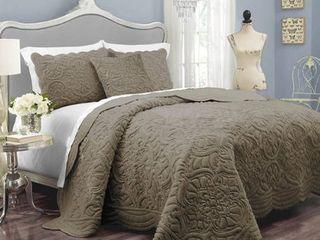 Charlotte Plush Decor Faux Fur Quilt Coverlet Set Queen Gray Waverly  Brown