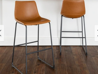 Carbon loft Prusiner Faux leather Bar Stool  Set of 2  Whiskey Brown Retail 186 49