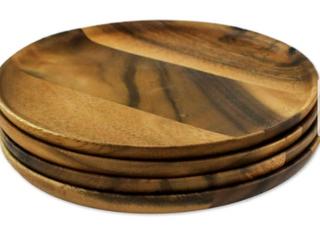 12 Handmade Natural Dark Discs Wood Plates