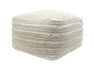 Brady Contemporary large Square Casual Wool and Cotton Pouf by Christopher Knight Home  Retail 138 49